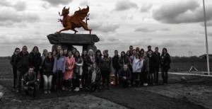 'We shall remember': S taff and students at the Welsh Memorial at Passchendale .