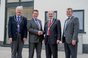 Pictured at the opening of the Coracle offices are, from left: Deputy Mayor of Carmarthen Cllr Wyn Thomas, Bassett & MacGregor Director Andrew Bassett, Carmarthenshire County Council Chairman Cllr Peter Hughes Griffiths, and Carmarthenshire County Council Physical Regeneration Manager Stuart Walters.