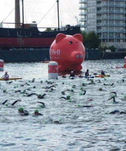 Giant inflatable pig: At the London Triathlon
