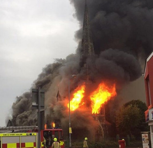 Park United Reform Church burns in Llanelli on August 13. (PIC: Jonathan Smith)