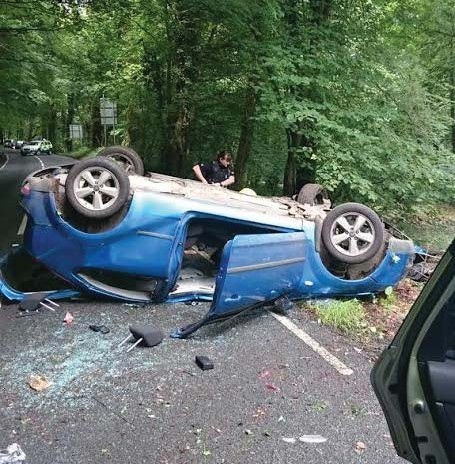 Overturned: Carms Road Policing tweeted this picture of the overturned vehicle