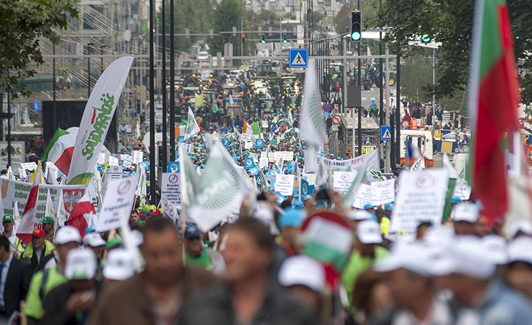 On the march: Farmers protest in Brussels