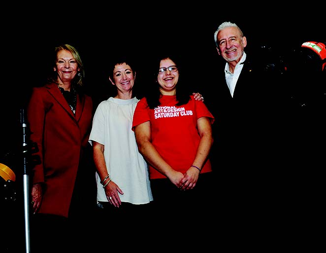 From left: Lady Frances Sorrell of the Sorrell Foundation, Sarah Hopkins, head of creative industries at Coleg Sir Gâr, Cerys Williams, art club Ambassador and Sir John Sorrell