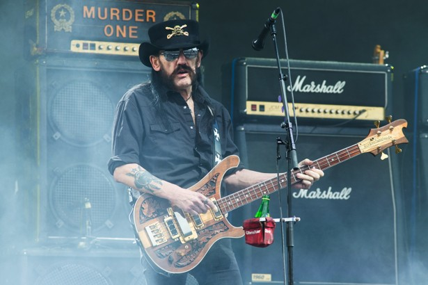 Ian 'Lemmy' Kilmister AT Glastonbury music festival 2015. (Photo by Jim Ross/Invision/AP)