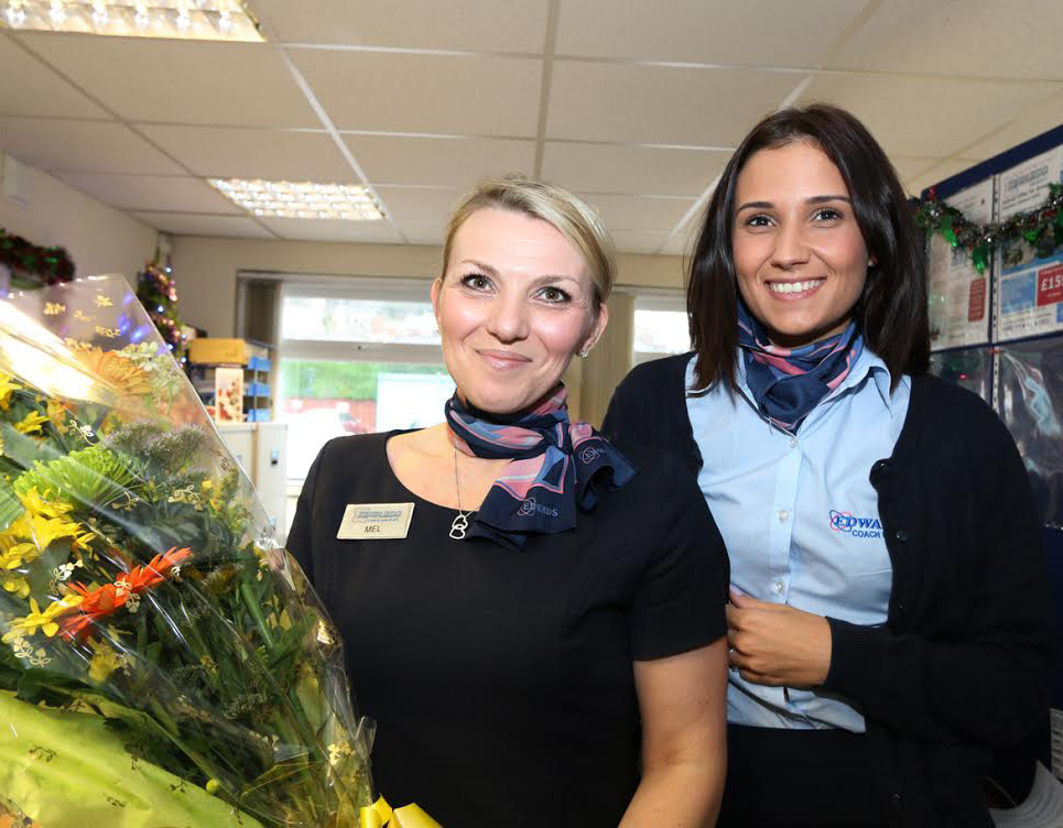 Mel and Alysha: Customers rewarded them with a huge bouquet of flowers