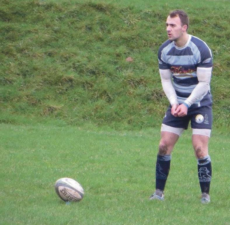 Ready: Nick Gale sets himself to take a penalty kick for Narberth against RGC