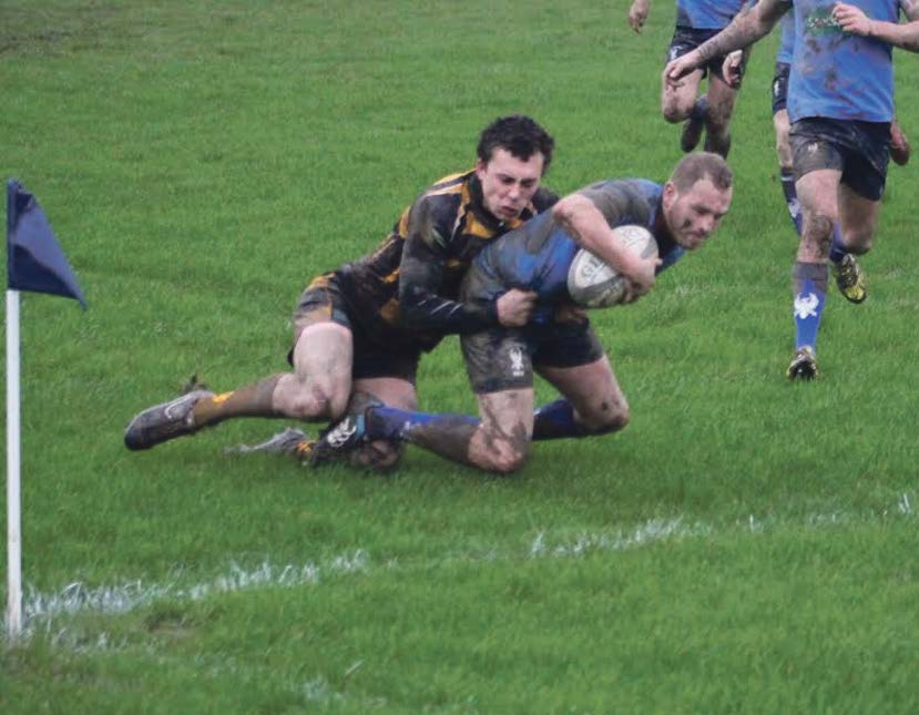 Try: Dane Pindare reaches over to score a try for Haverfordwest