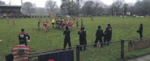 Difficult conditions: Wind, rain and sodden ground during the game