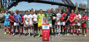 Treharne (second left): At the launch of the Sydney 7's