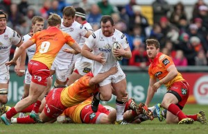 Aled Davies: Moves across to make a tackle