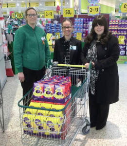 Eggs-cited: Emily Cook, Natasha Warlow with Councillor Sharen Davies