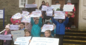 Save our school: Protestors outside County Hall on Wednesday
