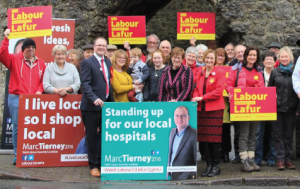 Marc Tierney: With Nia Griffith and Labour candidates and supporters at his campaign launch.