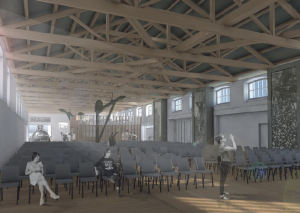 How it could look: Artistic impressions of the inside and outside of the renovated Goods Shed building