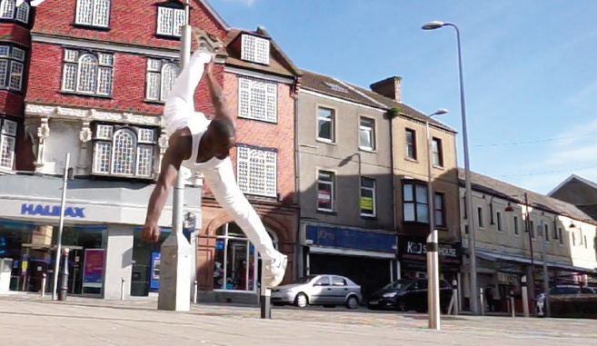 Julius: Performing karate in the middle of Llanelli