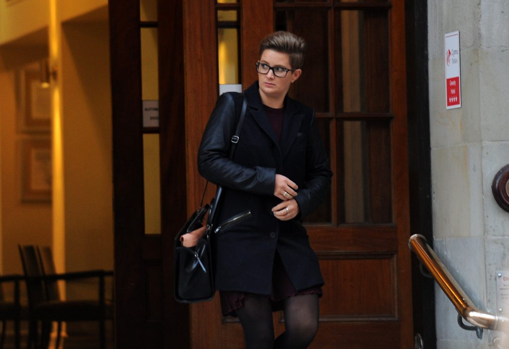 Nia Davies: Leaving the hearing (Pic. Wales News Service)
