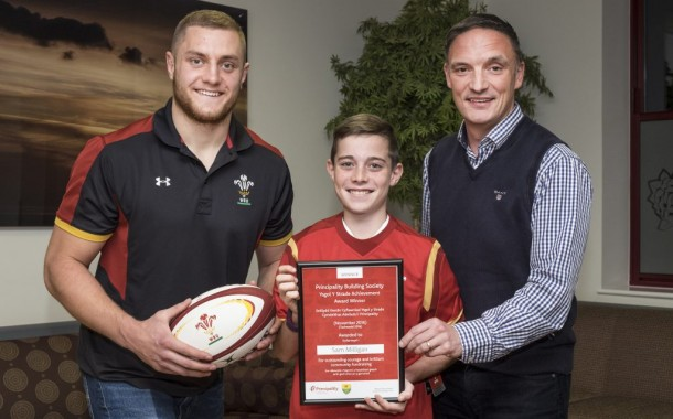 Fundraising schoolboy gets surprise from rugby star