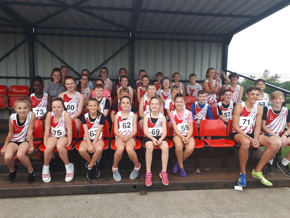 Photo Llanelli AC Juniors in the under 11 to 15 age groups at the end of season club competition at Pemberton